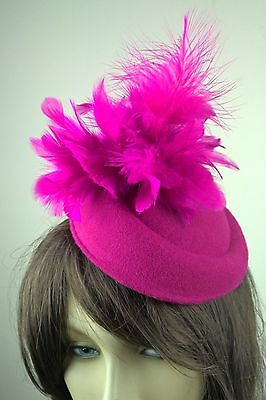 dark hot pink feather flower fascinator pill box hat hair clip headpiece wedding