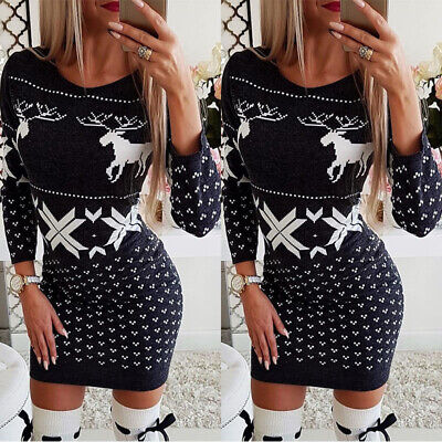 Womens Christmas Mini Dress Ladies Long Sleeve Xmas Jumper Bodycon Dresses Tops