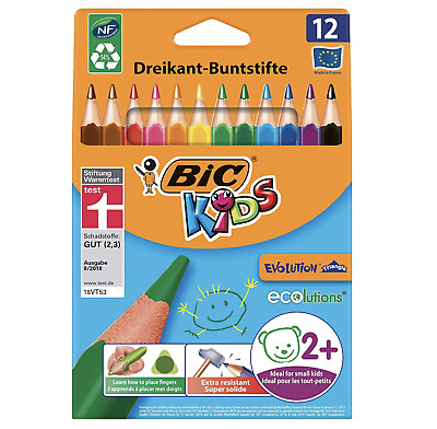 BIC Kids Evolution Triangle ECOlutions Colouring Pencils - 12 Assorted Colours