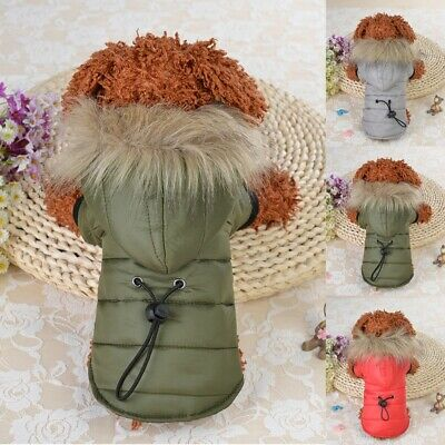 Hoodie Padded Dog Coat Jacket Chihuahua Winter Warm Pet Small Cat Puppy Clothing