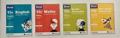 Bond 11+ Assessment Papers 8-9 Yrs 4 Books Set English, Maths,VR NVR Reasoning