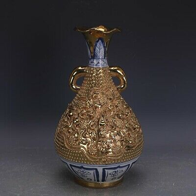 "12.8"" Chinese Old Porcelain yuan Blue & white gilt Elephant ear Ceramics vase"