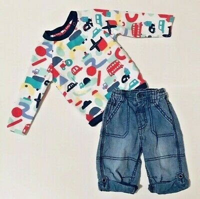 George TU Baby Boys White Top Blue Jeans Outfit 3-6 Months Long Sleeve