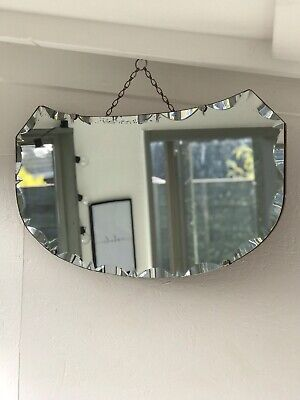 Vintage Beveled Edge Frameless Curved Mirror Lovely Rounded Art Deco