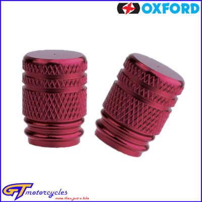 Oxford Lightweight Anodised Alloy Round Tyre Valve Caps | Pair | Red | OF887