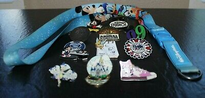 Lot of 11 Disney Trading Pins and Lanyard