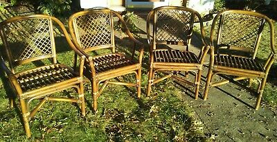 Vintage Mid Century Matching Set 4 Faux Bamboo Rattan Dining Room Chairs modern