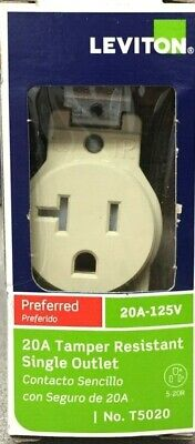Leviton T5020-0IS 20 amps 125 volt Ivory Outlet 5-20R 1 pk