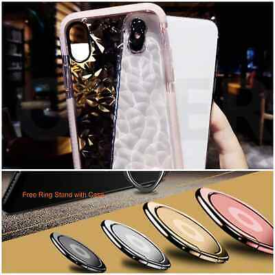 Crystal Clear 3D Diamond Pattern Soft TPU Shockproof Case Cover for iPhone X/XS
