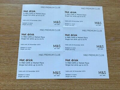 Marks And Spencer M&S Cafe Hot Drinks Vouchers  6 X £2.75 Valid 30 Nov 2019