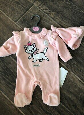 Primark Baby Girls Disney Aristocats Marie All In One 2 Piece Set Velour All Age