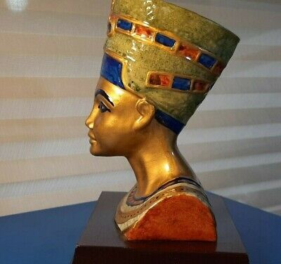QUEEN NEFERTITI BUST 7'' Tall Decorative Statue Hand Painted Egyptian
