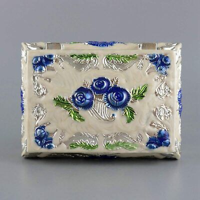 Collect China Old Cloisonne Carve Pretty Blue Rose Flower Delicate Jewelry Box