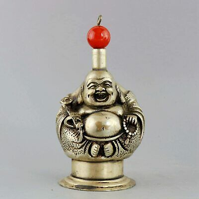 Collectable Old Miao Silver & Agate Carved Smile Buddha Auspicious Snuff Bottle
