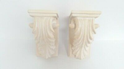 Corbel Acanthus White Gilded Leaf Wall Shelf Bookend Sconces Decorative Set