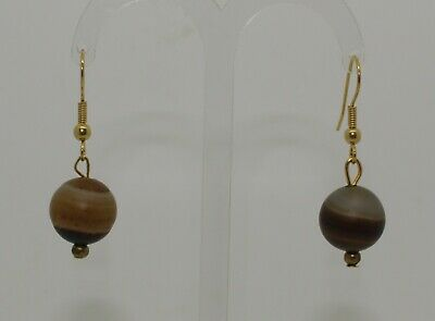 Ancient Carved Agate Bead Earrings - 011