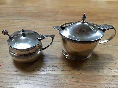 Antique Silver Drum Mustard / Condiment Pots With Blue Glass X2- Hallmarked