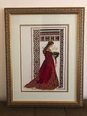 Cross Stitch Christmas Lavender & Lace COMPLETED Framed Cross Stitch