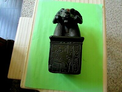 Ancient Egyptin Ram Head Statue Carved Black Stone And Signed  6 X 3   Rare