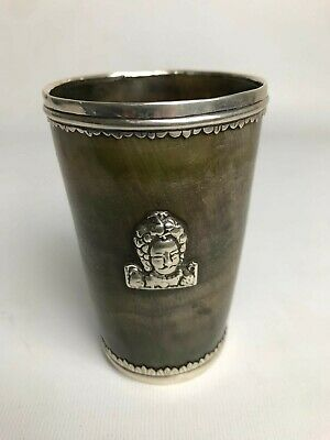 Early C18th White Metal Mounted Unusual Horn Beaker