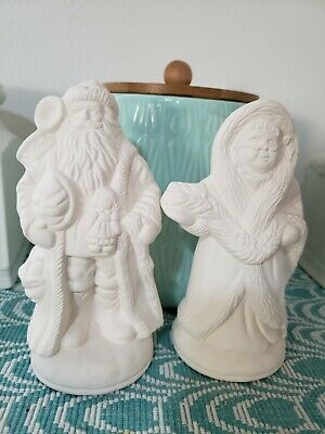 """Ceramic Bisque Mr. & Mrs. Santa Claus 8"""" Ready to Paint Christmas"""