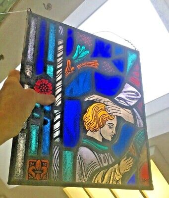Antique Victorian Church stained Glass Leaded small window Lamb of God