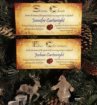 x2 Personalised Invitation Tickets to Lapland from Father Christmas /Santa Claus