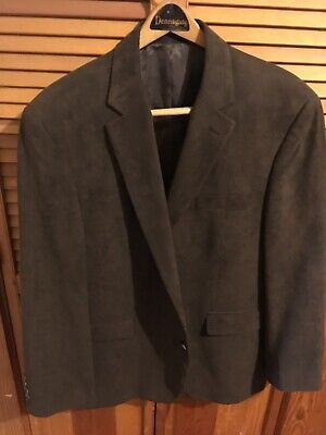 Andrew Fezza Mens Brown 2 Button Blazer Jacket Soft Plush Sz 46S