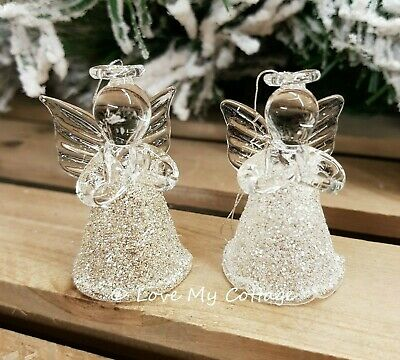 Set 2 Miniature Gold Silver Glass Angel Xmas Tree Decoration Hanging Fairy Gift