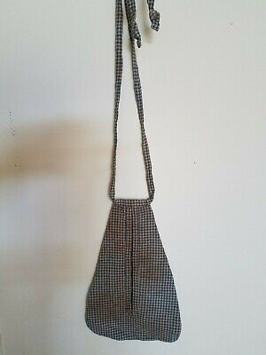 Early Style Childs Sewing Pocket Lined Blue Check Tea Stained Cute !