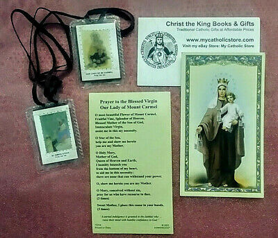 Our Lady Of Mount Carmel Laminated Holy Card & Brown Scapular Gift Set