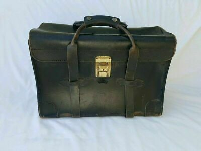 Antique Black Leather Doctors Bag Case Document Tote 18x8x13 Vintage Made in USA