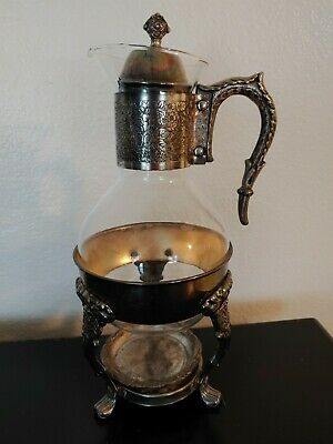 Vintage Silver Plate & Glass Coffee/Tea Carafe Pitcher W Footed Warmer Stand