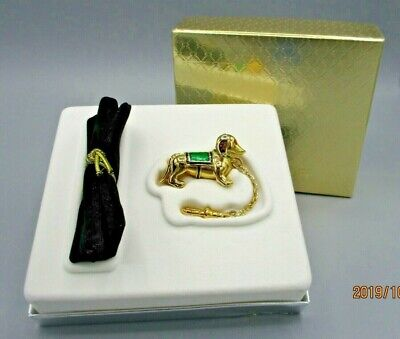 Estee Lauder Figural Dachshund Key Chain Solid Perfume With Box