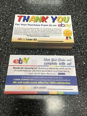 100 eBay Seller Thank You Business Cards
