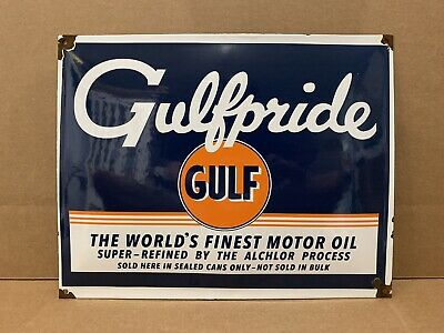 Vintage Porcelain Gulf Gasoline Sign Gulfpride Plate Gas Pump Oil Decor Bar Pub