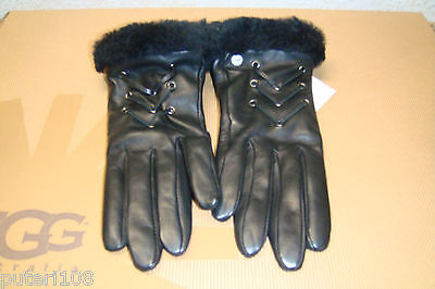UGG CAILYN FASHION BLACK LEATHER SHEARLING GLOVES sz L NEW