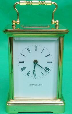 Tiffany & Co Vintage Swiss 8 Day Corniche Timepiece Carriage Clock