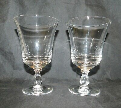 2 Vintage Fostoria Glass - Clear CENTURY Pattern, Footed Water Goblets
