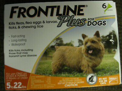 Frontline Plus Flea and Tick Control for Dogs and Puppies 5-22 lbs 6 application