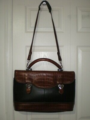 NICE Brighton Black Brown Croc Leather Office Business Briefcase Cross Body Bag