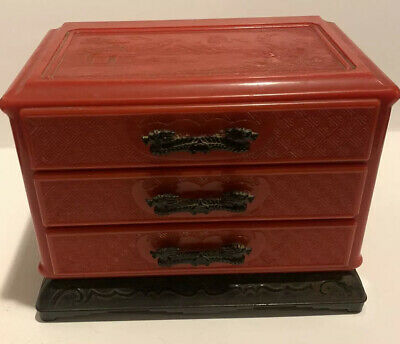 vintage chinese red plastic jewelry box