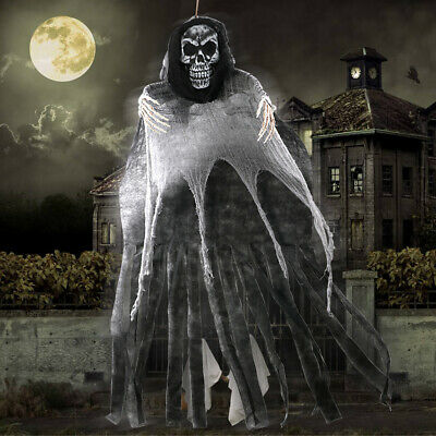5.5ft Hanging Grim Reaper Halloween Skeleton Hanging Ghost Scary Horror Prop