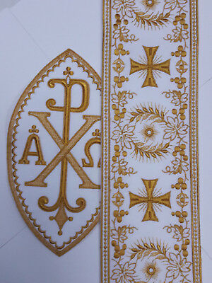 Orphrey Cross Design Embroidered Banding or A&O Chi Rho Emblem Patch USA C101