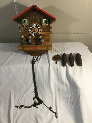 Vintage German Kuner Cuckoo Clock Musical Band Two Doors