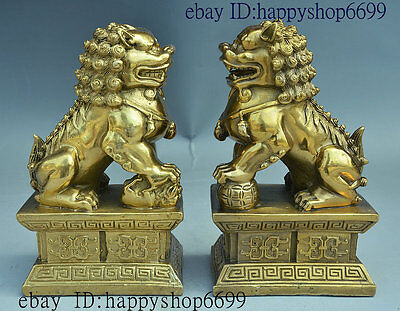 """7"""" Chinese Palace Brass FengShui Auspicious Foo Fu Dog Guardion Lion Statue Pair"""