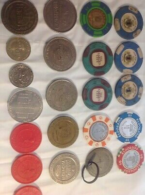 22 CASINO CHIP LOT 3Drink Token Las Vegas Reno Verdi & more Poker Chips vintage