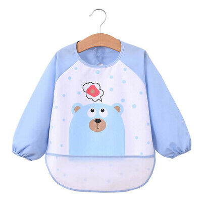 Baby Infant Kids Waterproof Long Sleeve Bibs Apron Animal Cartoon Feeding Smock