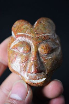 Chinese hongshan culture old jade Carved people face amulet Pendant  A12