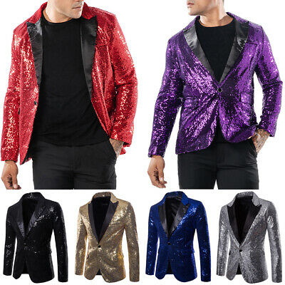 Mens Blazer Sequin Stage Performer Formal Host Suit Bridegroom Tuxedos Suits